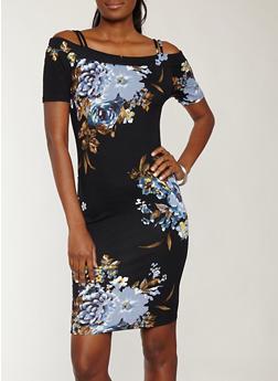 Soft Knit Black Floral Off the Shoulder Dress - 1094074280150