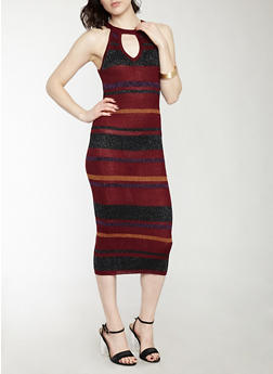 Striped Shimmer Knit Sweater Dress - 1096038346368