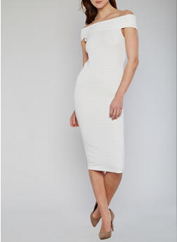 Off the Shoulder Midi Bandage Dress - IVORY - 1096038347988