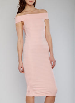 Off the Shoulder Midi Bandage Dress - 1096038347988