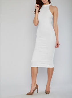 Sleeveless Mid Length Bandage Dress - IVORY - 1096038347990