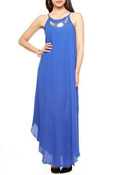 Halter Neck Chiffon Maxi Dress with Metallic Necklace,RYL BLUE,medium