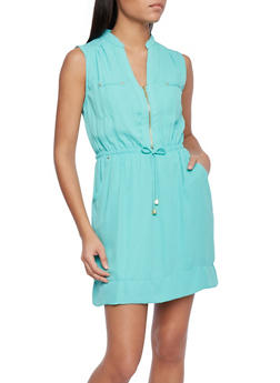 Sleeveless Shift Dress with Drawstring Waist and Zip Neck - 1096051062753