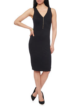 Sleeveless Zip Front V Neck Dress - 1096051062985