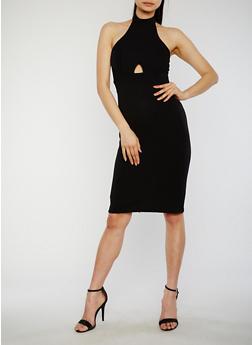 Sleeveless Halter Neck Bandage Dress with Keyhole Details - BLACK - 1096051063037