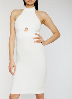 Sleeveless Halter Neck Bandage Dress with Keyhole Details - IVORY - 1096051063037