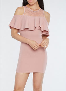 Ruffled Lace Yoke Cold Shoulder Dress - 1096051063237