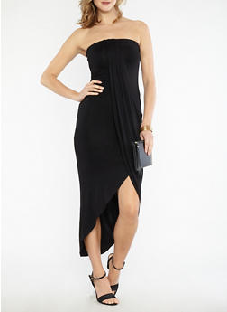Solid Tube Dress with Asymmetrical Overlay - BLACK - 1096051063502