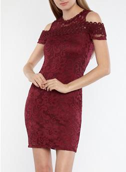 Lace Overlay Cold Shoulder Dress - 1096054265855