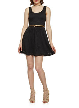 Sleeveless Lace Skater Dress with Belt - BLACK - 1096054267701