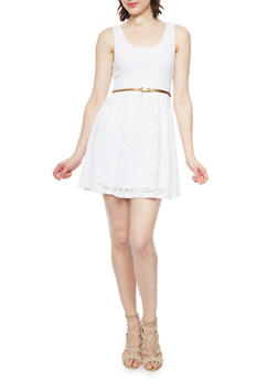 Sleeveless Lace Skater Dress with Belt - WHITE - 1096054267701