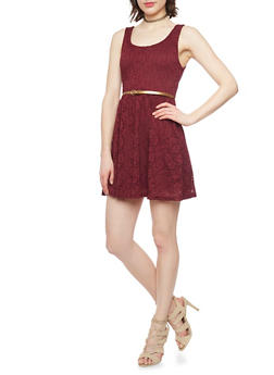 Sleeveless Lace Skater Dress with Belt - BURGUNDY - 1096054267701
