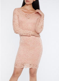 Long Sleeve Lace Dress - MAUVE - 1096054268148