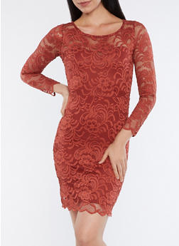 Long Sleeve Lace Dress - 1096054268148