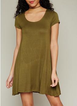 Solid Short Sleeve Shift Dress - 1096054268193