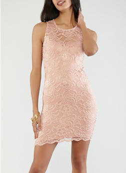 Sleeveless Lace Bodycon Dress - 1096054268316