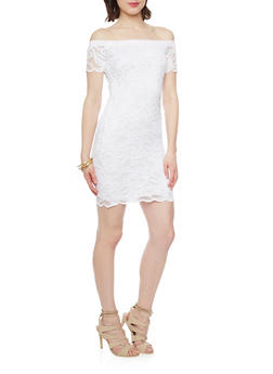 Lace Off the Shoulder Bodycon Dress - WHITE - 1096054268800