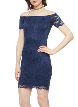 Lace Off the Shoulder Bodycon Dress - 1096054268800