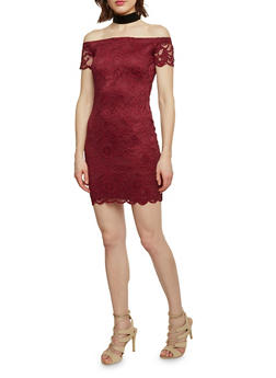 Lace Off the Shoulder Bodycon Dress - BURGUNDY - 1096054268800