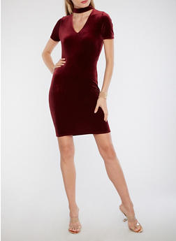 Choker Neck Velvet Dress - BURGUNDY - 1096054268919