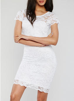 Solid Lace Short Sleeve Cocktail Dress - WHITE - 1096054269100