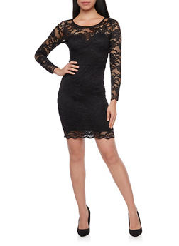 Lace Bodycon Mini Dress with Long Sleeves - BLACK - 1096054269148