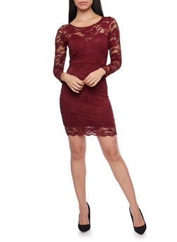 Lace Bodycon Mini Dress with Long Sleeves - 1096054269148