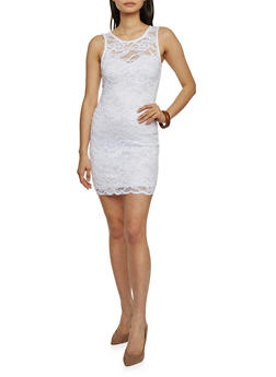Sleeveless Lace Mini Bodycon Dress - WHITE - 1096054269316
