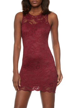 Sleeveless Lace Mini Bodycon Dress - BURGUNDY - 1096054269316