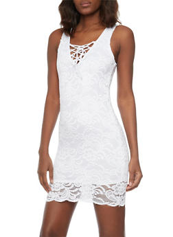 Sleeveless Lace V Neck Bodycon Dress - WHITE - 1096054269451