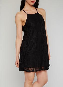 Sleeveless Lace Trapeeze Dress with Crochet Detail - BLACK - 1096054269582