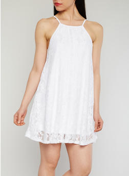 Sleeveless Lace Trapeeze Dress with Crochet Detail - WHITE - 1096054269582