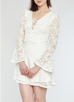 Bell Sleeve Lace Skater Dress - IVORY - 1096054269965