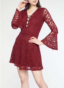 Bell Sleeve Lace Skater Dress - 1096054269965