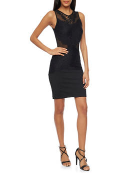 Lace Panel Bodycon Dress with Sheer Cutouts - BLACK - 1096058750078
