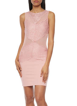 Mini Bodycon Dress with Lace and Mesh Paneling - 1096058750078