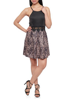 Sleeveless Dress with Lace Print Skirt - 1096058750225