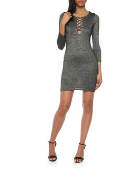 Lace Up Dress in Metallic Knit - 1096058750713