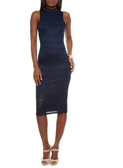 Mock Neck Midi Dress with Lace Front and Back Keyhole Cutout - 1096058751157