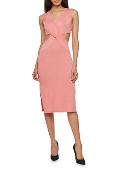 Bodycon Dress with Cutouts - 1096058751180