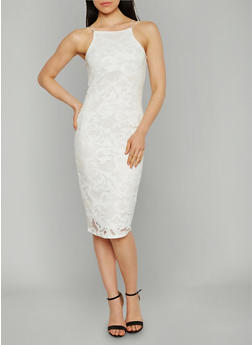 Floral Lace Midi Dress - OFF WHITE - 1096058751553