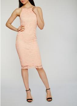 Floral Lace Midi Dress - BLUSH - 1096058751553