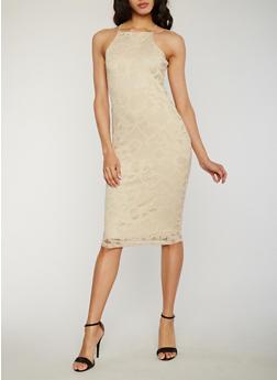 Floral Lace Midi Dress - 1096058751553