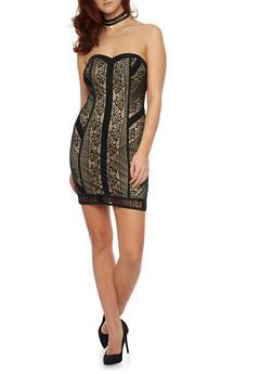 Strapless Mini Dress in Lace - 1096058751649