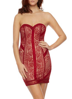 Strapless Mini Dress in Lace - 1096058751649