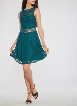 Sleeveless Lace Skater Dress - 1096058751835