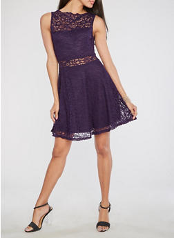 Sleeveless Lace Skater Dress - 1096058751835