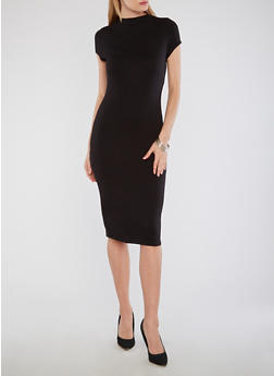 Solid Funnel Neck Bodycon Dress - BLACK - 1096058751839