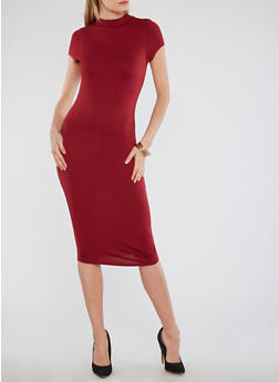 Solid Funnel Neck Bodycon Dress - 1096058751839