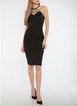 Textured Knit Jeweled High Neck Bodycon Dress - BLACK - 1096058751841